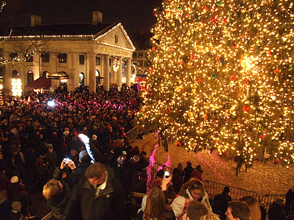 faneuil hall christmas tree lighting. a free light and sound show zoom in bostonsfaneuilhallchristmastree faneuil hall christmas tree lighting i