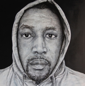 Cesar_conde_in_the_hood-portraits_of_african_american_professionals_wearing_a_hoodie-10__technique_mixte_on_canvas__48x48_2013.