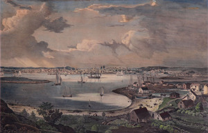 Lane_-_view_of_the_town_of_gloucester_1836