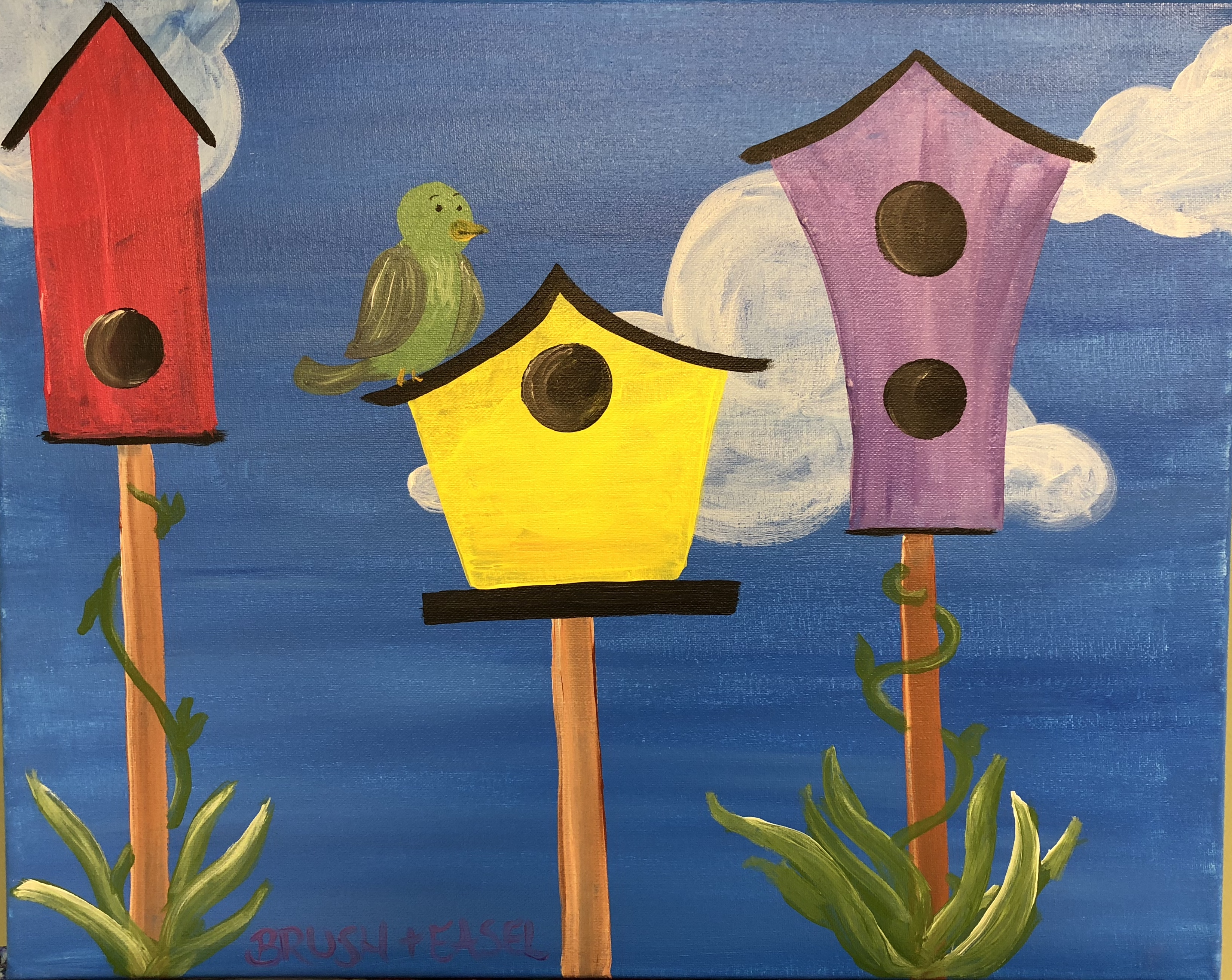 Birds House Family Painting