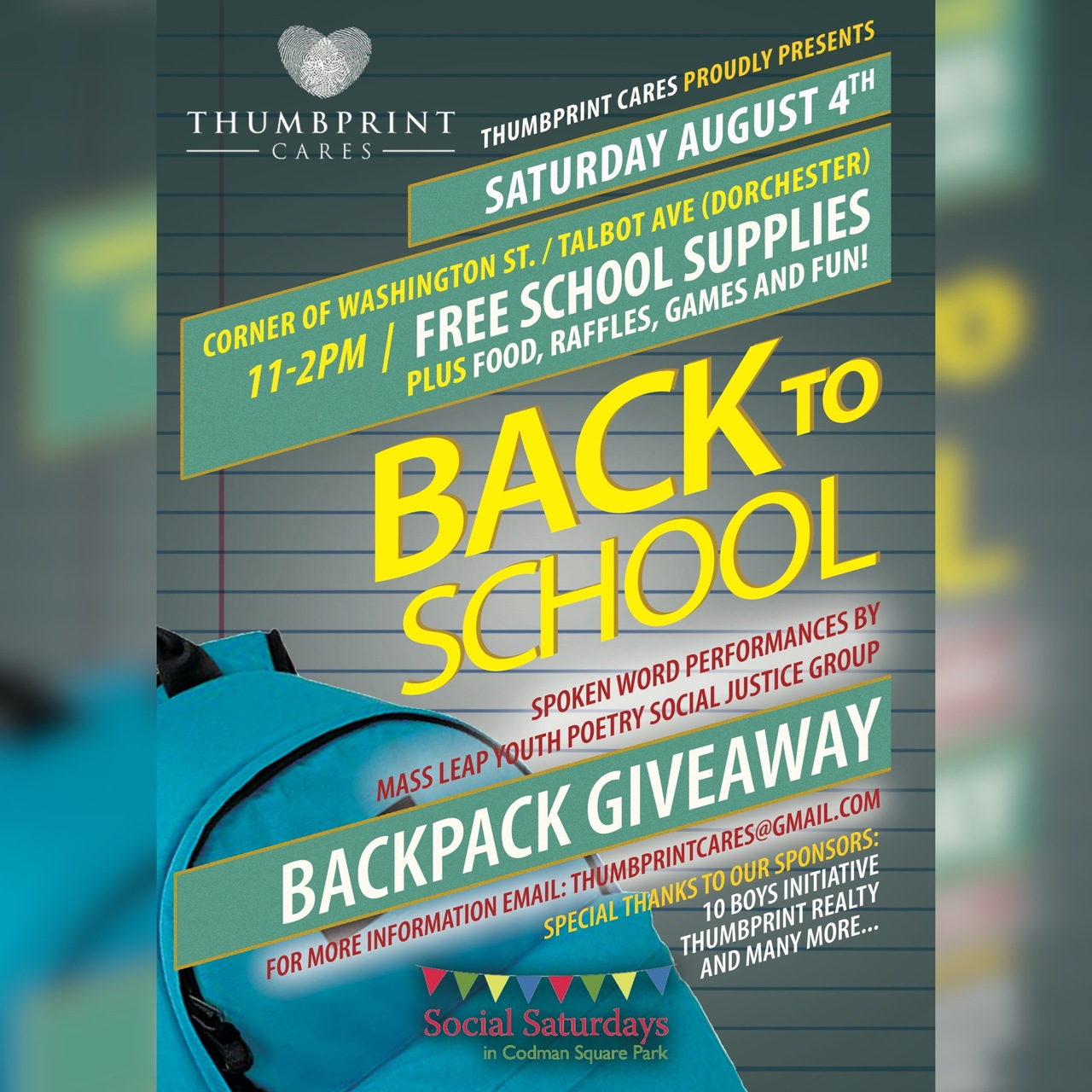 Thumbprint Cares: Back to School Backpack giveaway [08/04/18]