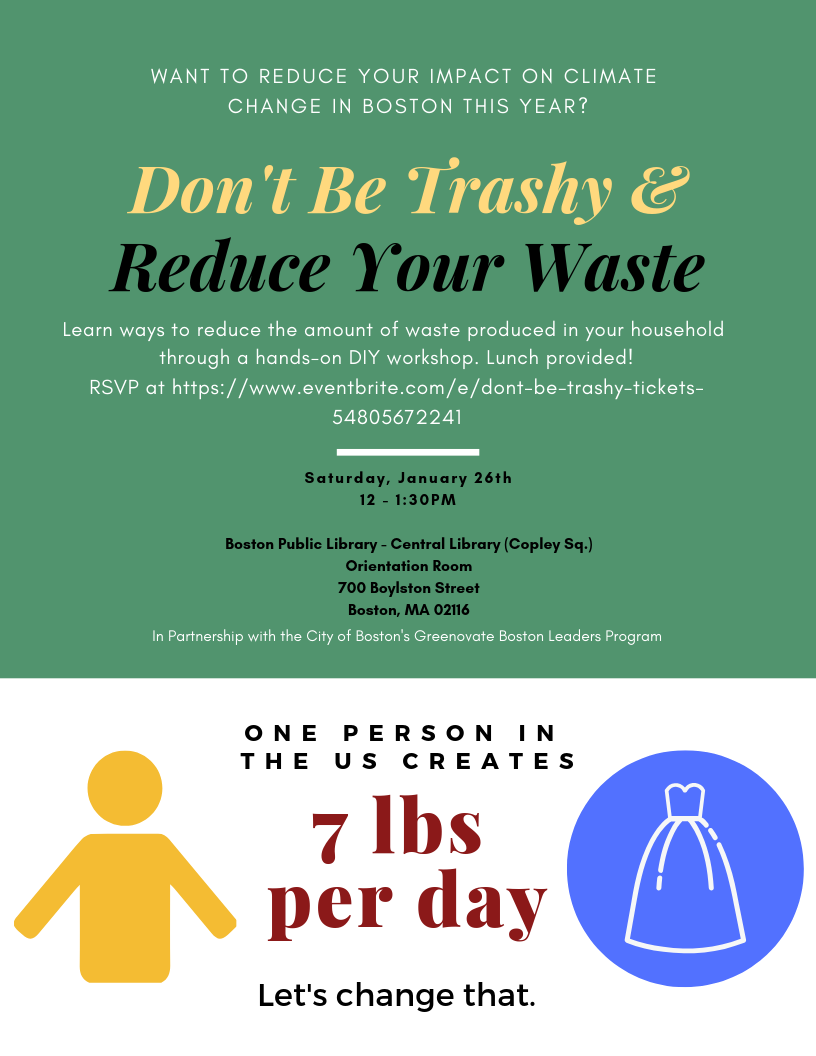 Don't Be Trashy -- Reduce Waste [01/26/19]