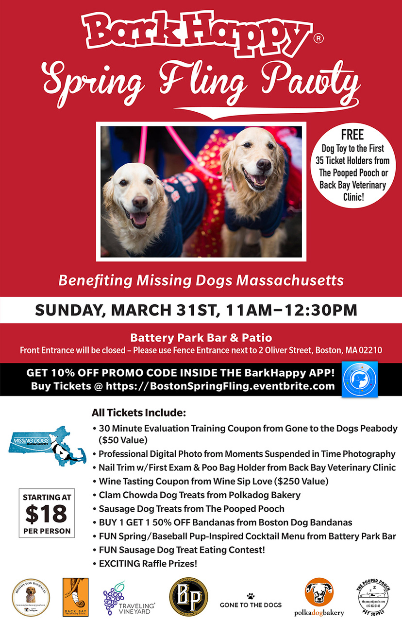 BarkHappy Boston: Spring Fling Pawty benefiting Missing Dogs