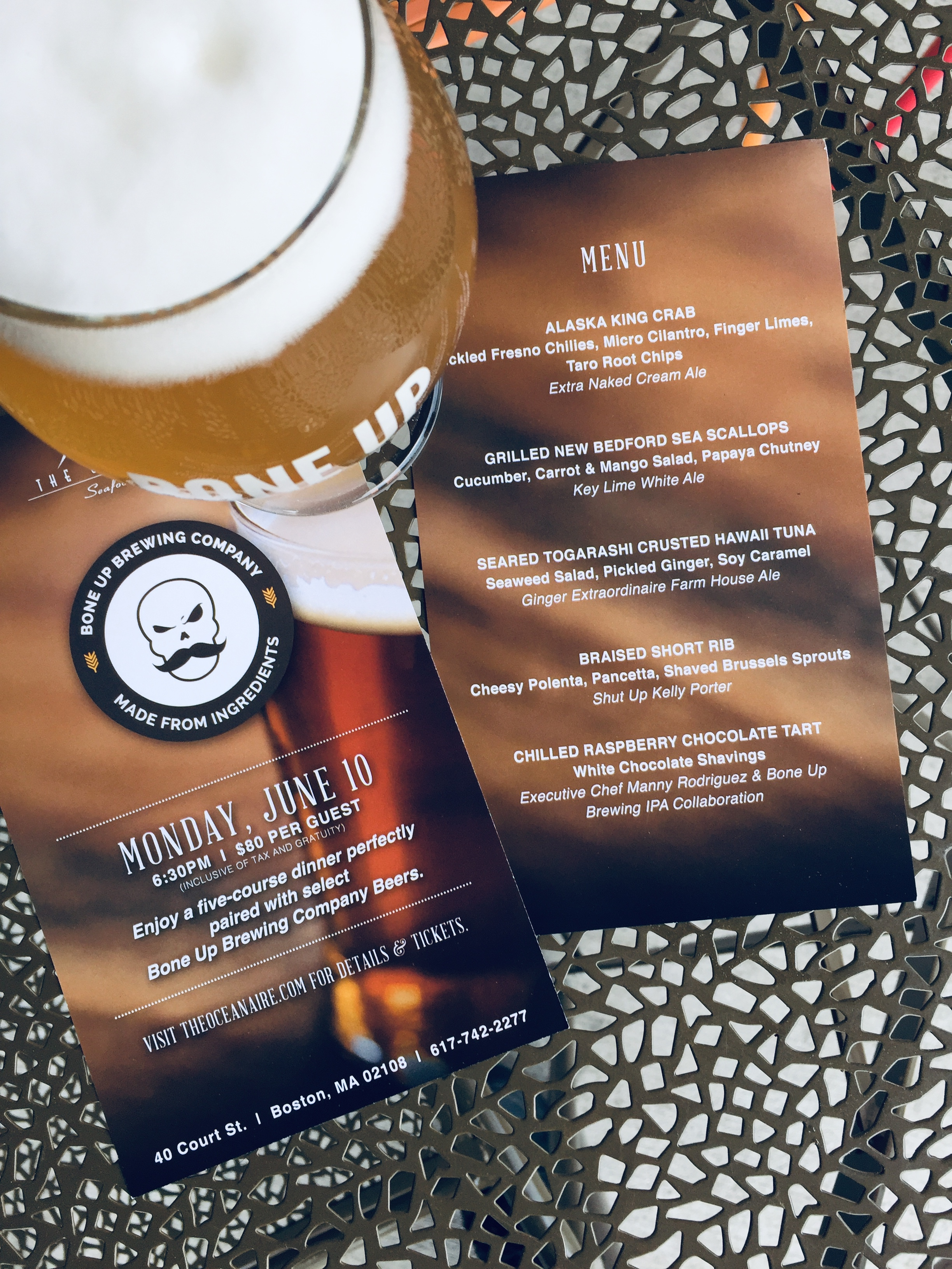 Bone Up Brewing Beer Dinner @ The Oceanaire [06/10/19]