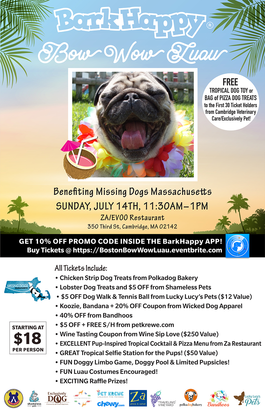 BarkHappy Boston: Bow Wow Luau for Missing Dogs MA [07/14/19]