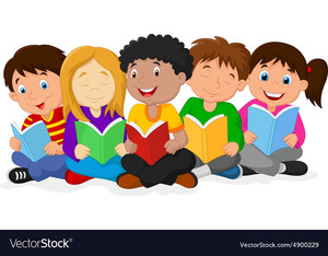 Happy-children-sitting-while-reading-books-vector-4900229